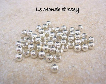 Lot 100 beads 4mm silver plated