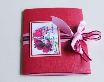 Hand painted wedding invitation Marsala colour flowers