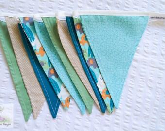 Blue, green, orange, navy & brown elephant boys nursery fabric bunting / pennant flags