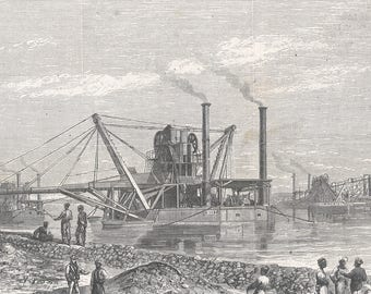 The Big Dredges And The Elevators Of The Suez Canal, Egypt 1869 - Old Antique Vintage Engraving Art Print - Men, Workers, Engineer, Ship