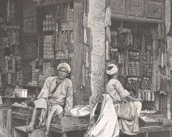Jaffa - Pearl Merchants, Palestine 1881 - Old Antique Vintage Engraving Art Print - Market, Shop, Vendors, Supplies, Sitting, Pearls