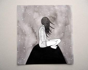 meditation art, mindfull art, mindfulness art, meditation illustration, mindfull illustration, mindfull drawing, mindfulness illustration
