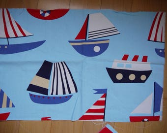 Cotton thick blue boat Blue Navy white and Red - 77 x 50 cm