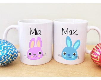 Easter mugs etsy 2 easter mugs with names cute easter gifts for kids childrens easter gift unique mugs sugar negle Choice Image