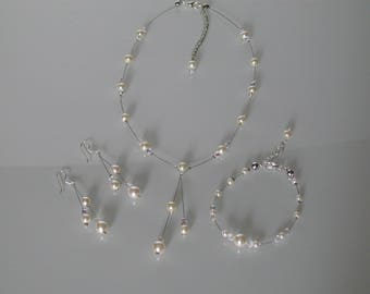 Jewelry set Necklace Bracelet earrings ivory/off white / Crystal bridal/wedding/party/ceremony/cocktail (pr dress) not expensive