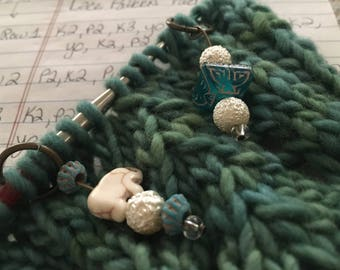 Hand crafted Cute elephant and accent beaded stitch markers