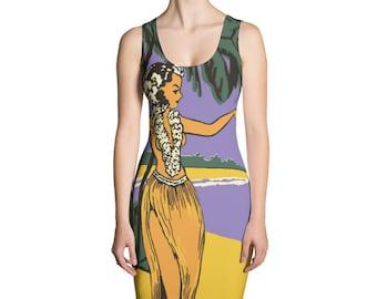 Custom Printed Dress - Cut and Sew Dress - Island feel Dress - Artist Print Design - Kalua Dancing Girl Sublimation