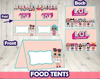 Lol surprise FOOD TENTS. Lol digital printable .Lol birthday party.Lol decoration. Lol surprise food. Lol surprise buffet. Lol tent cards