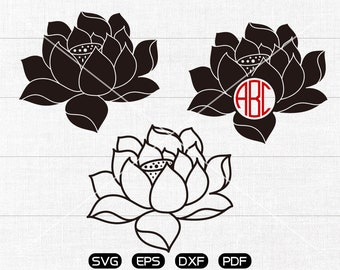 Lotus Flower Svg, Lotus Flower  Clipart, Monogram Frame cricut, cameo, silhouette cut files commercial & personal use