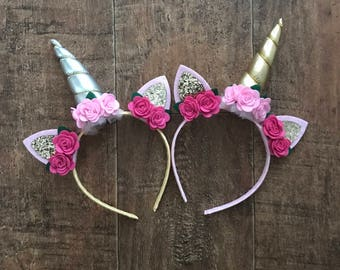 Unicorn headband, girls unicorn headband, flower unicorn headband, unicorn horn headband, silver unicorn headband, gold unicorn horn