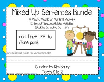 Mixed Up Sentences ~ 12 Sets of Seasonal/Holiday Activities ~ A Word Work or Writing Activity