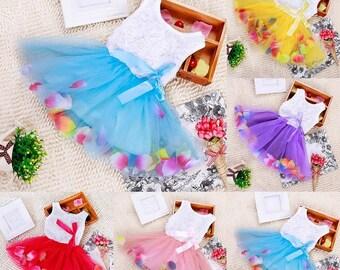 Flower Petal Tulle Dress