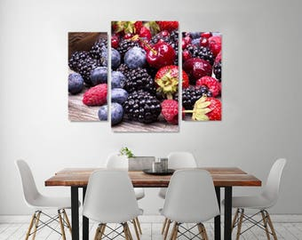 Forest Fruit  on Canvas, Beautiful  Fruit Art style, Picture for the kitchen on Canvas, Fruit  Wall Art