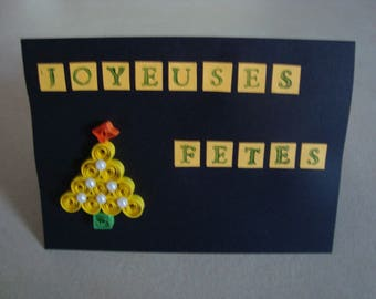 Happy holidays in quilling card
