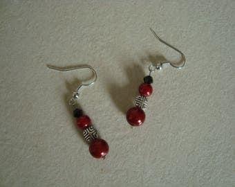 Earrings red silver black