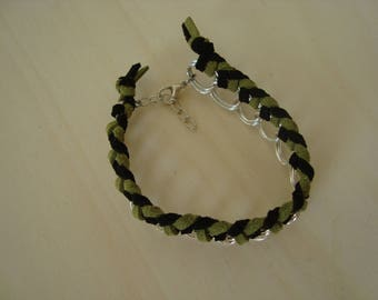 Black and green String Bracelet double ring