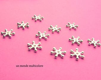 25 beads form snowflake 12 x 2 mm silver