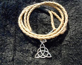 Leather triquetra bracelet