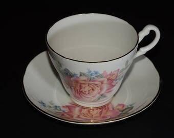 ROYAL STUART, Tea Cup and Saucer Set,rose pattern, pink large roses, Bone China, Gold Rimmed, England, Vintage, Valentines Day gift