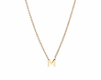14K Solid Gold Petite Initial Letter Necklace, tiny gold necklace, gold initial jewelry, personalized gold jewelry, custom gold necklace, ID