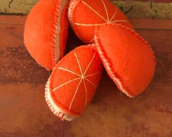 Felt Orange Slices - 4 Orange Slices - Felt Fruit