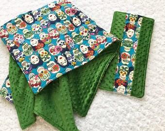Personalized frida baby blanket; sugar skull baby blanket set; Frida baby blanket; gender neutral baby blanket; skull blanket