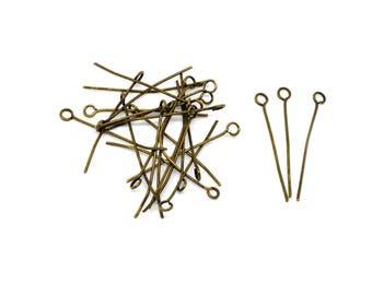 lot de 100 clous tiges à tête boucle 26 mm métal bronze