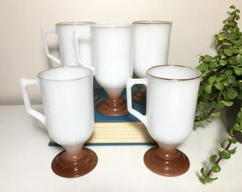 Vintage Hazel Atlas Brown Base Mug Set of 5