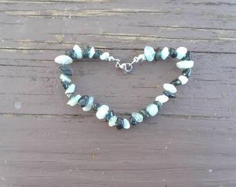 Aquamarine bracelet - Obsidian bracelet