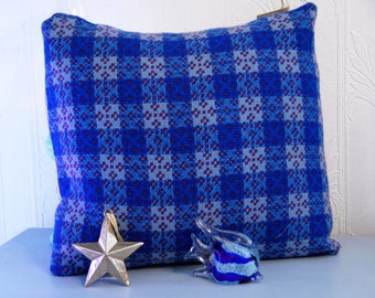 """Welsh Tapestry Cushion, 16x16"""" handmade cushion, blue and purple vintage welsh tapestry fabric, welsh blanket cushion, handmade in Wales"""