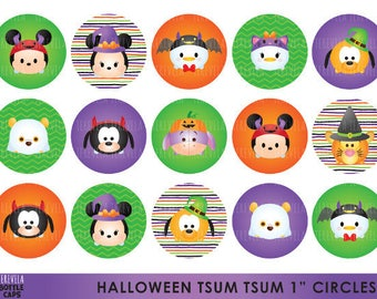 "50% SALE HALLOWEEN tsum tsum Bottle Cap, Image Party, Circles Birthday Party, 1"" circule,  Printable,  cute images"