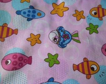 50 x 50 cm fabric cotton pink floral patchwork multicoloured fish