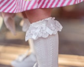 Toddler Girl Knee High Cable Knit Socks with Ruffle and Bow