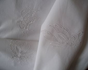 Duvet cover and pillowcase embroidered with butterflies