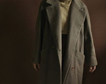 Vintage mocha brown oversized winter overcoat / long taupe oversized collar coat / classic simple coat / S / M / Size 6