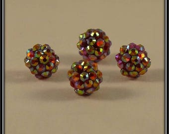 set of 4 red holographic 12mm shamballa beads