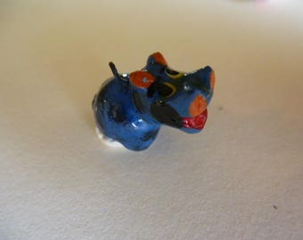 charm Blue Hippo terracotta handmade 23 mm