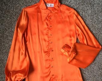 """60s/70s """"Ginger"""" Orange Poet Sleeve Blouse"""