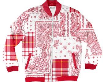Red Bandana Bomber Jacket