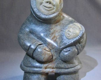 INUIT Greenstone Carving Mother and Child with Inlaid Faces