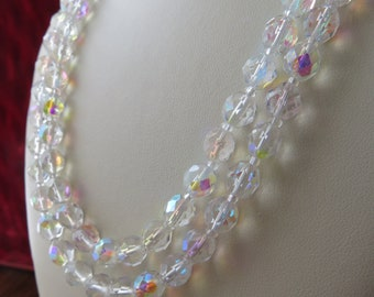 Vintage Double Stranded Aurora Borealis Beaded Necklace with Round Beads and Silver-toned Clasp