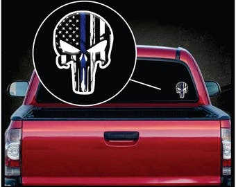 """Punisher Thin Blue Line Color Decal Sticker 7"""" tall"""