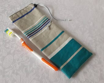 Case waterproof striped turquoise blue and gray for toothbrush and toothpaste for the bag or toiletry bag, waterproof lining