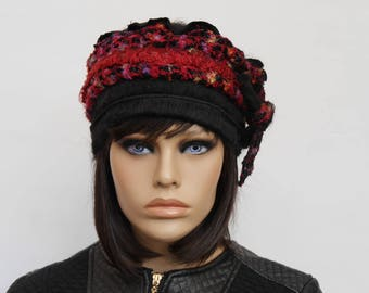 Hat made of polyester and multicoloured wool Nina 24