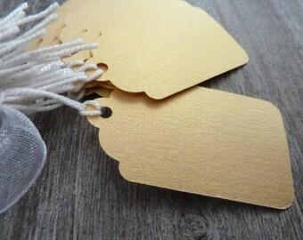 40 étiquettes taille moyenne jaune irisé et ficelle de coton