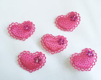 Set of 5 appliques hearts Fuchsia rhinestones and sequins