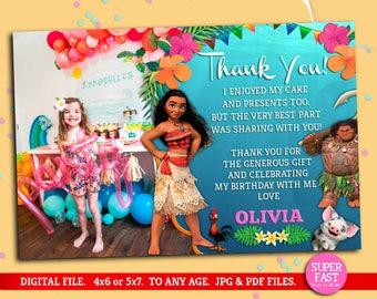 Moana THANK YOU card whit photo, Moana greeting card with photo, Moana customized thank you card, Moana psrty, Moana, to Any age. M002