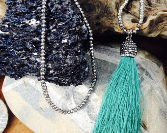 Green Tassel Necklace - Boho Necklace -  Green and Graphite - Yoga Necklace - Elegant Necklace