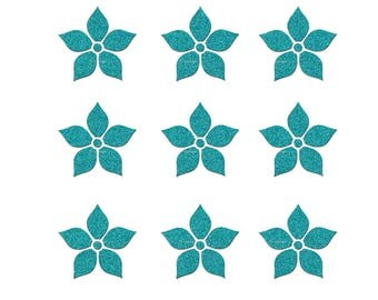 Lot 9 flowers of 3 cm in flex fusible blue glitter