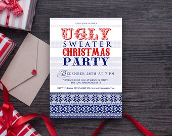 Ugly Sweater Invitations Christmas Party Invitations Ugly Sweater Printable Invite Tacky Sweater Xmas Invitation Template Holiday Invitation